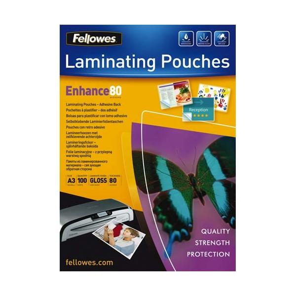 FELLOWES Pack de 100 pochettes A3 dos adhésif 2x 80 microns
