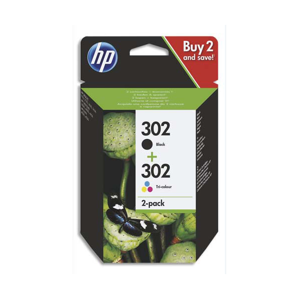 HP Pack cartouches noir + tri-couleur n°302 / X4D37AE