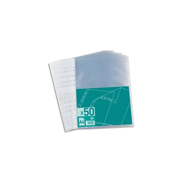 NEUTRE Sachet de 50 pochettes perforées en polypropylène 4/100e A4