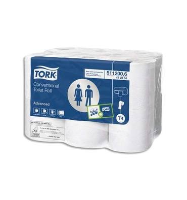 TORK Paquet de 12 rouleaux Papier toilette traditionnel Advanced 2 plis 200 feuilles patte velours