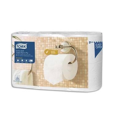 TORK Paquet de 6 rouleaux Papier toilette Traditionnel Extra doux Premium 4 plis 153 feuilles Ecolabel
