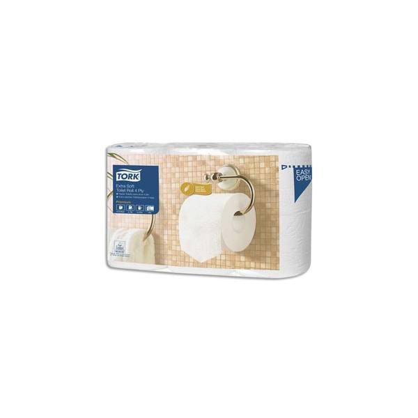 TORKPaquet de 6 rouleaux Papier toilette Traditionnel Extra doux Premium 4 plis 153 feuilles Ecolabel