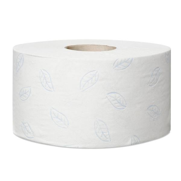 TORK Colis de 12 Bobines Papier toilette Mini Jumbo Premium doux 2 plis L170 m x D18 cm blanc logo bleu