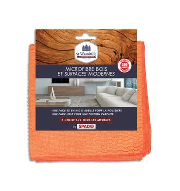 ST WANDRILLE Chiffon microfibre double face spéciale bois et surfaces modernes, format 40 x 40 cm coloris orange