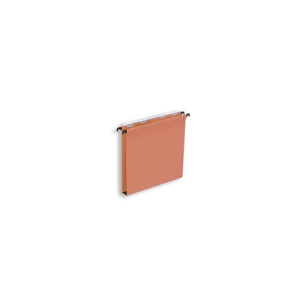 NEUTRE Boîte de 25 dossiers suspendus TIROIR en kraft 210g. Fond 30 mm, volet agrafage. Orange