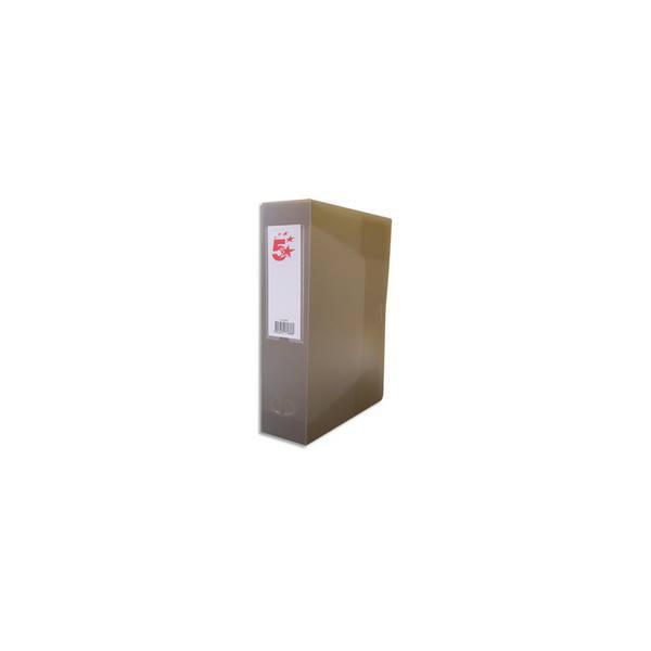 5 ETOILES Boîte de classement dos de 8 cm, en polypropylène 7/10e, coloris gris fumé translucide (photo)