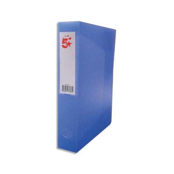 5 ETOILES Boîte de classement dos de 8 cm, en polypropylène 7/10e, coloris bleu translucide (photo)