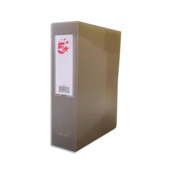 5 ETOILES Boîte de classement dos de 6 cm, en polypropylène 7/10e, coloris gris fumé translucide (photo)