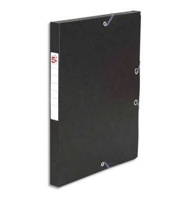 5 ETOILES Boîte de classement à élastique en carte lustrée 7/10e, 600g. Dos 25 mm. Coloris noir