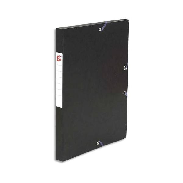 5 ETOILES Boîte de classement à élastique en carte lustrée 7/10e, 600g. Dos 25 mm. Coloris noir (photo)