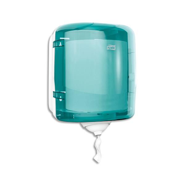 TORK Distributeur Maxi Reflex à dévidage central feuille à feuille 25 x 30 x 25 cm transparent fumé bleu