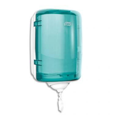 TORK Distributeur Mini Reflex à dévidage central feuille à feuille 19 x 32 x 21 cm transparent fumé bleu