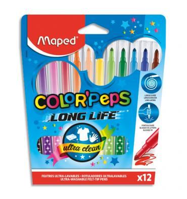 MAPED Pochette 12 feutres de coloriage COLOR'PEPS. Pointe moyenne. Coloris assortis
