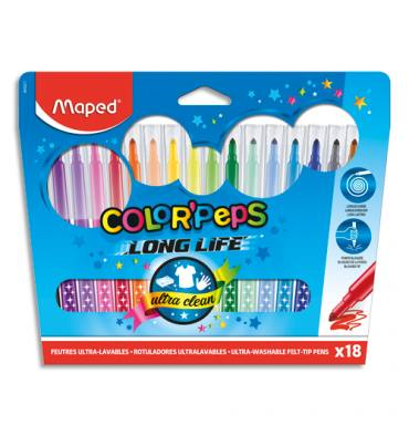 MAPED Pochette 18 feutres de coloriage COLOR'PEPS. Pointe moyenne. Coloris assortis