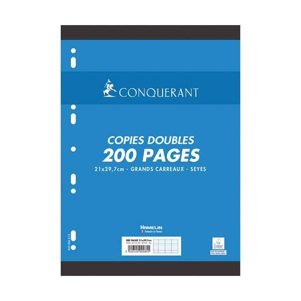 CONQUERANT 7 BY HAMELIN Copies doubles perforées blanches A4 200 pages SEYES 70g