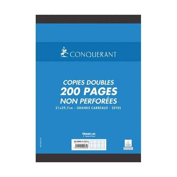 CONQUERANT 7 BYHAMELIN Copies doubles non perforées blanches 21 x 29,7 cm 200 pages SEYES 70g
