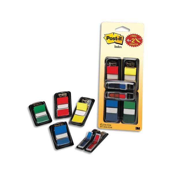 POST-IT Lot de 4 index coloris assortis standard et 2 index flèche - 2,54 x 4,4 cm