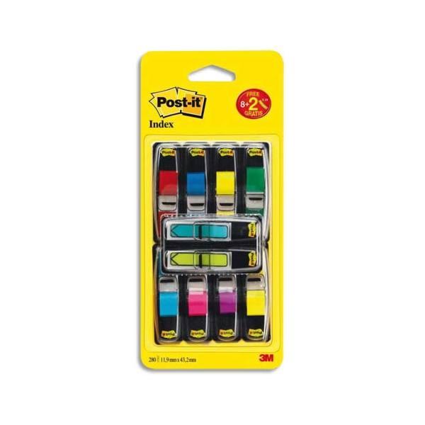 POST-IT Lot de 8 index standard coloris assortis standard et 2 index flèche 2,54 x 4,4 cm