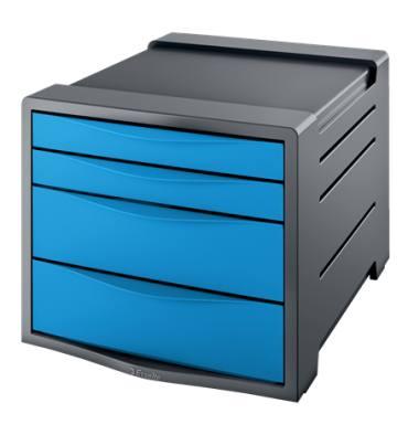 ESSELTE Bloc de classement Europost 4 tiroirs - bleu - L28,5 x H24,5 x P38 cm