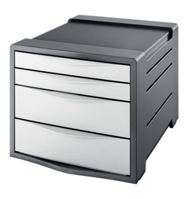 ESSELTE Bloc de classement Europost 4 tiroirs gris foncé & blanc - L28,5 x H24,5 x P38 cm