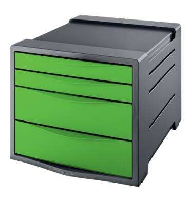 ESSELTE Bloc de classement Europost 4 tiroirs - gris foncé & vert - L28,5 x H24,5 x P38 cm