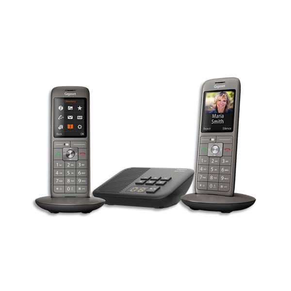 GIGASET Téléphone Duo sans fil CL660A avec répondeur, coloris gris anthracite (photo)
