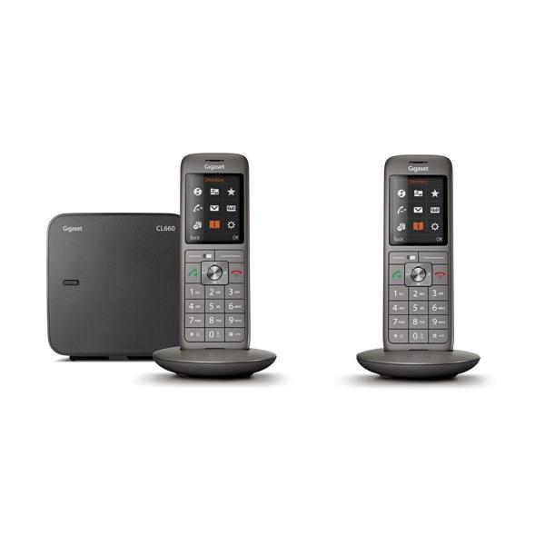 GIGASET Téléphone Duo sans fil CL660 sans répondeur, coloris gris anthracite (photo)