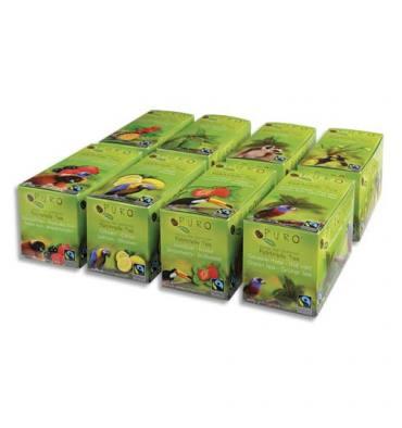 PURO 8 Boîtes 25 sachets thés Earl grey, Vert, Fraise, Citron, Fruits Bois et Eglantier, Rooibos, Menthe