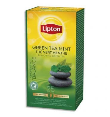 LIPTON Boîte de 25 sachets de thé vert menthe