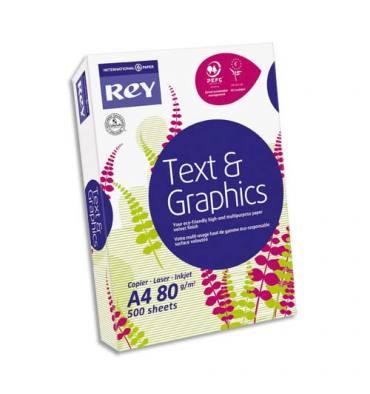 REY BY PAPYRUS Ramette de 500 feuilles papier blanc TEXT AND GRAPHIC PAPER copieur, laser, jet d'encre 80g A3