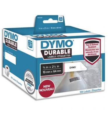 DYMO Rouleau de 900 étiquettes LabelWriter Durable Noir / Blanc 19 x 64 mm - 1933085