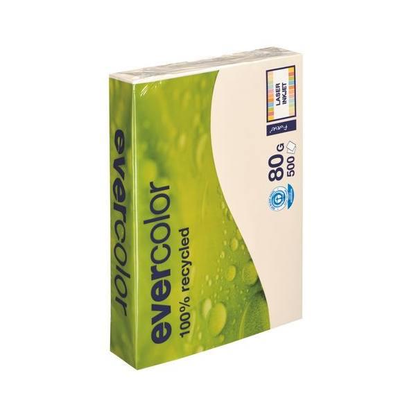 CLAIREFONTAINE Ramette de 500 feuilles papier couleur recyclé EVERCOLOR 80g A4 ivoire
