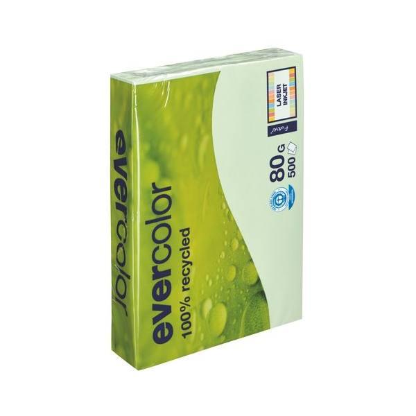 CLAIREFONTAINE Ramette de 500 feuilles papier couleur recyclé EVERCOLOR 80g format A4 vert clair
