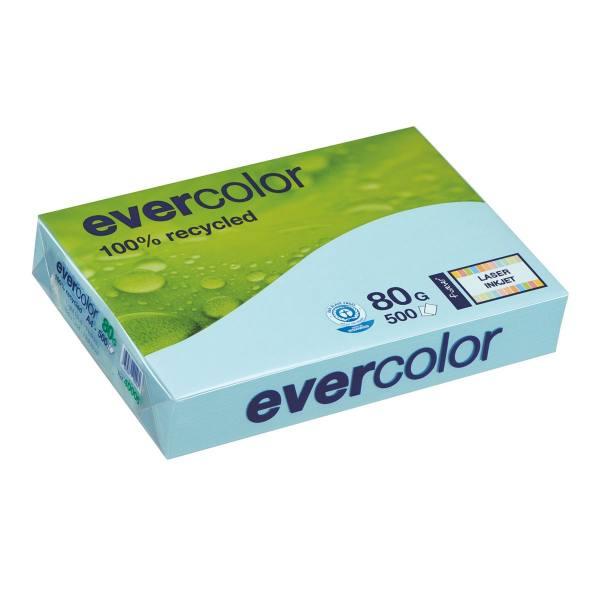 CLAIREFONTAINE Ramette de 500 feuilles papier couleur recyclé EVERCOLOR 80g A4 bleu clair