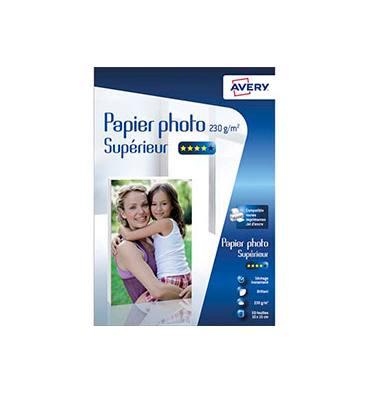 AVERY Boîte de 50 feuilles de papier photo brillant 10x15cm, jet d'encre, 230 g/m²