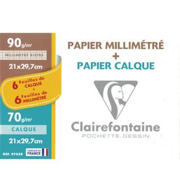 CLAIREFONTAINE Pochette de 12 feuilles A4 70g : 6 feuilles papier calque + 6 feuilles papier millimétré