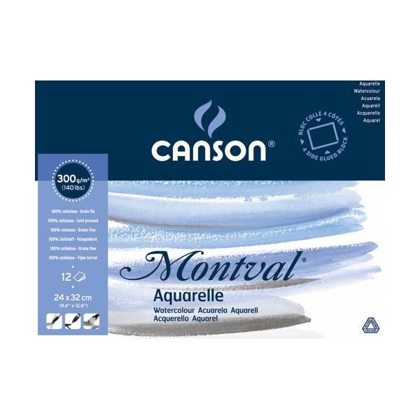 CANSON Bloc 12 feuilles papier aquarelle MONTVAL, collées 4 côtés, 24 x 32 cm, 300g, grain fin blanc naturel (photo)