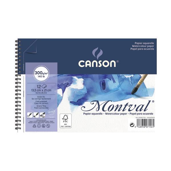 CANSON Album spiralé 12 feuilles papier aquarelle MONTVAL, 13,5 x 21 cm, 300g, grain fin