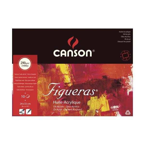 CANSON Bloc 10 feuilles peinture à l'huile, collées 4 côtés Figueras®, 24 x 33 cm, 29