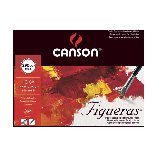 CANSON Bloc 10 feuilles peinture à l'huile, collées 1 côté Figueras®, 19 x 25 cm, 290