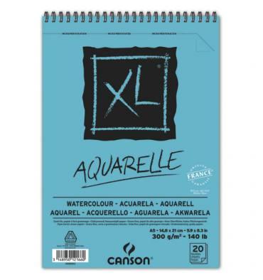 CANSON Album spiralé 20 feuilles XL® AQUARELLE, A5, 300g, grain fin blanc