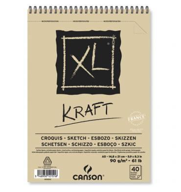 CANSON Album spiralé de 40 feuilles de papier dessin XL® KRAFT, format A5, 90g