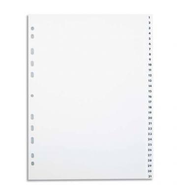 PERGAMY Jeu 31 intercalaires numériques 1-31 polypropylène format A4+. Coloris blanc
