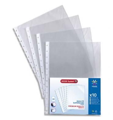 VIQUEL Sachet de 10 pochettes perforées à ouverture haut pour reliure Géode Méteor polypropylène 6,5/100e