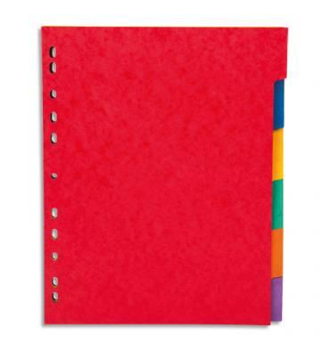 PERGAMY Jeu 6 intercalaires neutres 6 touches carte lustrée 225g. Format A4+. Coloris assortis vif