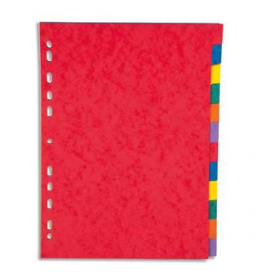 PERGAMY Jeu 8 intercalaires neutres 8 touches carte lustrée 225g. Format A4. Coloris assortis vif
