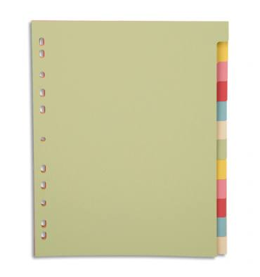 PERGAMY Jeu 12 intercalaires neutres 12 touches carte recyclée 170g. Format A4+. Coloris assortis pastel