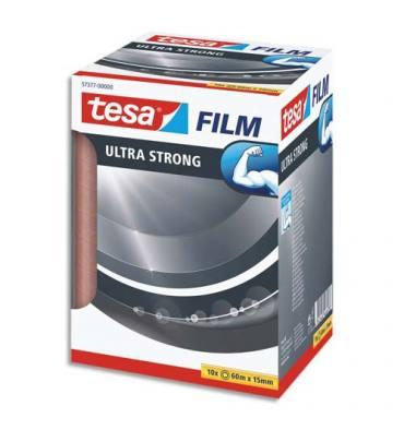 TESA Tour de 10 Adhésifs tesafilm Ultra Strong 15 mm x 60 m, transparent et résistant