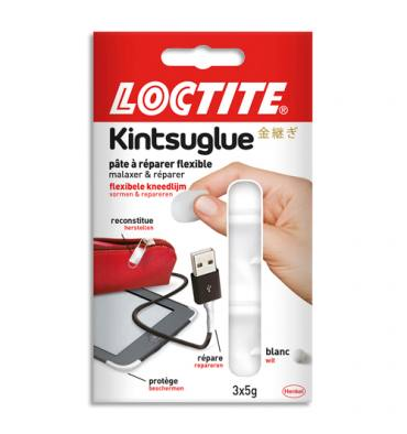 LOCTITE Blister de 3 sachets de 5g. Pâte à réparer Kintsuglue blanc, flexible et adhésive