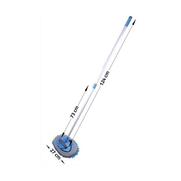 ALBIORE Balai de lavage Bleu manche télescopique 73 à 124 cm + support 25,5x16,5 cm et frange microfibre (photo)